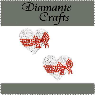2 x 37mm Clear Heart with Red Bow Diamante Rhinestone Vajazzle Body Gems