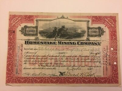1918 Homestake Mining Co Stock Certificate Signed by Edward Clark Historic Mine!