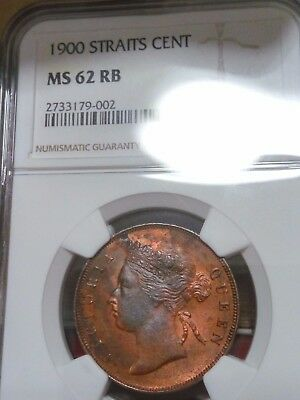 1900 Straits Settlements 1 Cent Queen Victoria NGC MS 62 RB