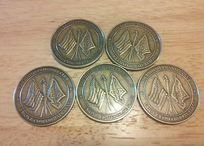 Lot Of 5-Union And Confederate -The History Channel Club Coins Free Shipping