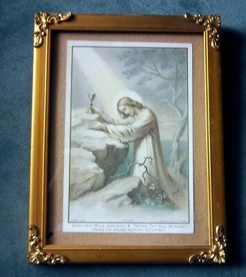 Antique Picture Frame Brass Corners Religious Print French