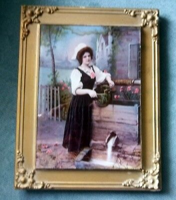 Antique Picture Frame Brass Corners Glass on Top Victorian Lady at Well