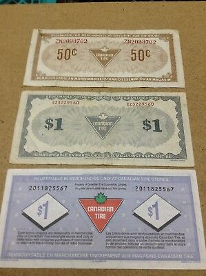 Canadian Tire Money - 3 Notes - 50 Cents & (2x)1 Dollar - Lot X2