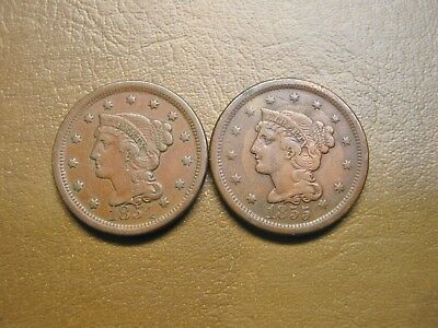 Nice Pair Of Us Braided Hair Large Cents, 1854 And 1855, Both F With Marks