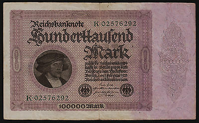 100,000 Mark 1923 1st Issue Reichsbanknote Republic Treasury Note P-83a/1