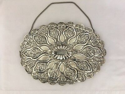 ⚜️Silver Repousse Wedding Mirror ~ 900 Silver marked KLAS ~ Middle Eastern ⚜