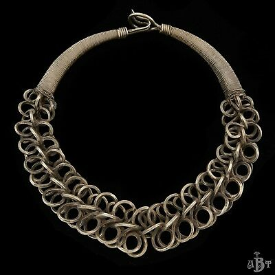 "Antique Vintage Art Deco Nickel Silver Chinese Miao Tribal HUGE 27.0"" Necklace"