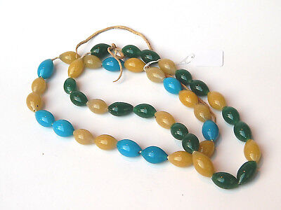19th C. Antique Native American Indian Trade Bead Necklace Peking Glass Chinese