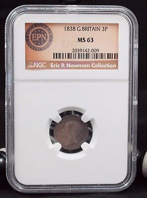 1838 GB Threepence NGC MS63  from Eric P. Newman Collection