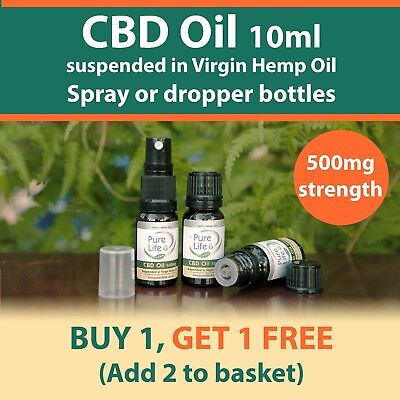 10 ML CBD OIL ( ORGANIC ) 500mg BOTTLES for topical use. BUY 1 get 1 FREE. UK