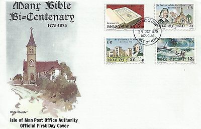 Isle of Man IOM Bible Centenary 1975 FDC First Day Cover Religion Religious