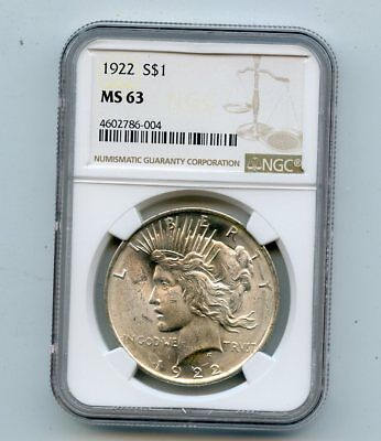 1922 Silver Peace Dollar (MS63) NGC
