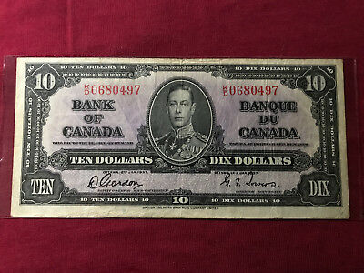 1937 Bank Of Canada Ten Dollar Bill 1937