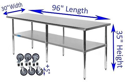"30"" x 96"" Stainless Steel Work Table w/ Casters  