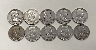 Lot Of Ten (10) Franklin Silver Half Dollars, mixed dates! $5 face value coins