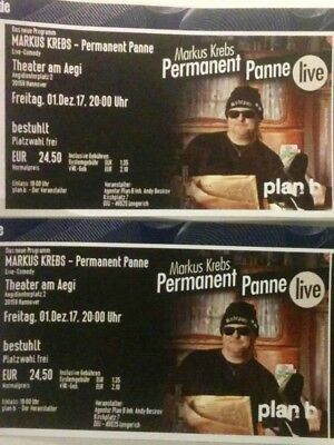 Markus Krebs 2 x Tickets Hannover 01.12.2017 Permanent Panne