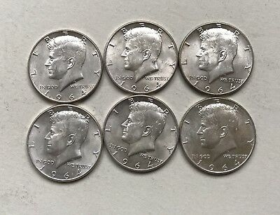 Lot Of 6 Kennedy Silver Half Dollars 1964 Higher Grades, Nice coins