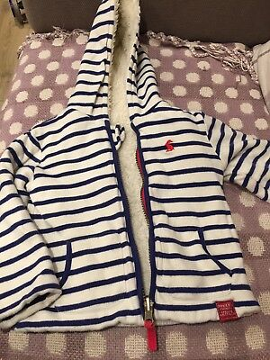 Joules Baby Boy 12-18 Months Cream With Navy Stripes Jacket