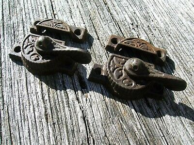 Pair of Vintage Antique Ornate Iron Victorian Window Locks Patented 12-27-1887