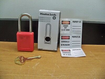 New Master Lock 410Red Lockout Nylon Keyed Different Red Padlock Free 1Stcls S&h