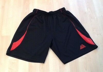 Mens Football Training Shorts, Pendle, Black & Red - Size: Small