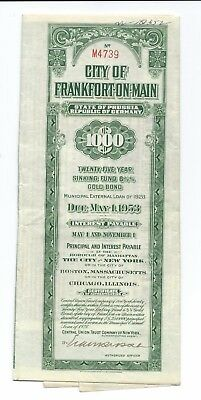 City of Frankfort-on-Main Gold Bond 1000 dollars 1928 with 20/50 Coupons