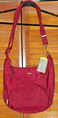 Travelon Anti-Theft Bag Burgandy With RFID Protection & Matching Mini Clutch New