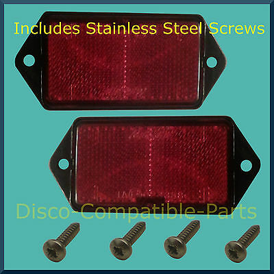 Land Rover Defender Rear Reflector Pair + Stainless Steel Screws