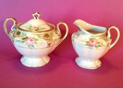 Nippon Pedestal Sugar And Creamer Roses With Gold Moriage Maple Leaf Trademark