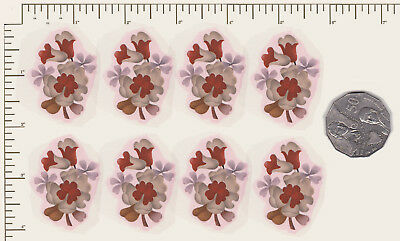 "8 x Waterslide ceramic decals Flowers Floral Red Approx. 1 3/4"" x 1"" PD08"