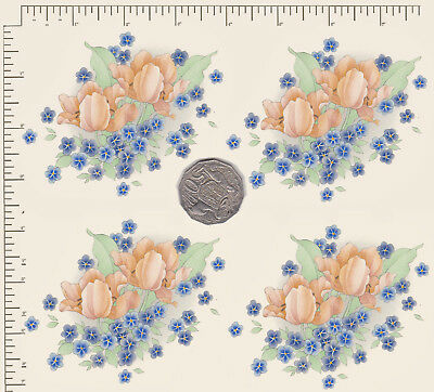 "4 x Waterslide ceramic decals Peach / blue floral Approx. 3 1/2"" x 3 1/ 4"" PD824"
