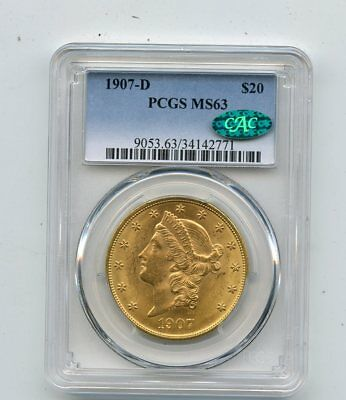 1907-D Liberty Double Eagle $20 Gold Coin (MS63) PCGS & CAC