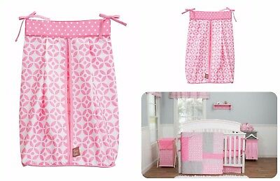 Diaper Stacker 100% Cotton Corrugated Plastic Top And Bottom Lattice Print Pink