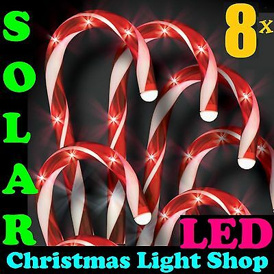 SET 8 Solar Red White Candy Canes 40 LED Christmas Garden Path Outdoor Lights