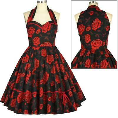 Chic Star Floral Dress Retro Prom 50s Vintage Pin Up Rockabilly Black Red