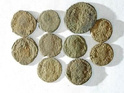 10 ANCIENT ROMAN COINS AE3 - Uncleaned and As Found! - Unique Lot 32305