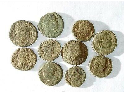 10 ANCIENT ROMAN COINS AE3 - Uncleaned and As Found! - Unique Lot 32304