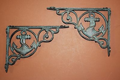 "(12) Seafood Restaurant Wall Decor, Anchor Shelf Bracket, 9"" Cast Iron, B-39"