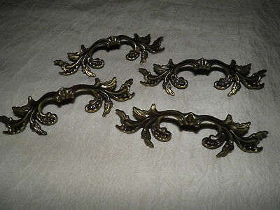 Antique Vintage Victorian Brass Bronze Ornate Decorative Drawer Pulls Set of 4