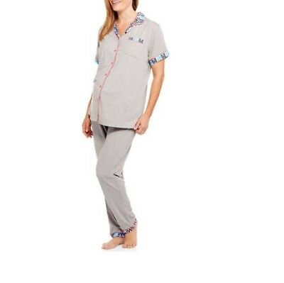 CHILI PEPPERS Women's Maternity Button Shirt With Pants Pajama Aztec Gray Medium