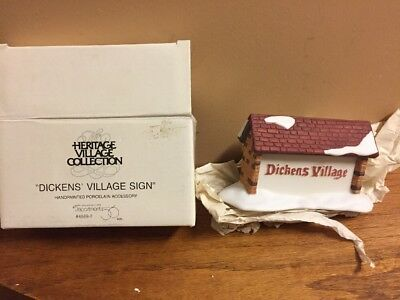 The Heritage Village Collection Christmas Dept. 56 Dickens Village Sign In Box