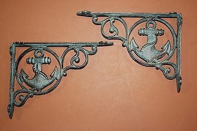 "(14) Seafood Restaurant Anchor Decor, Shelf Brackets 9"" Cast Iron, Ocean B-39"