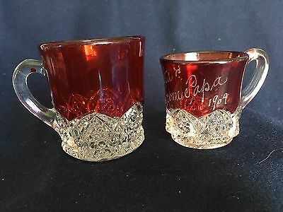 Ruby Flashed Glass Mugs Bonita from Papa 1909 and one with no inscription.