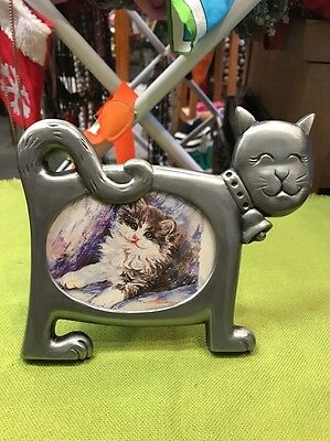 Cat Picture Frame Silver in color metal with glass insert cover photo