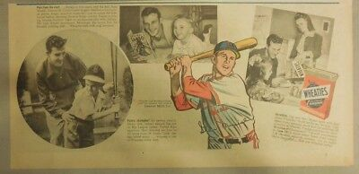 """Wheaties Cereal Ad: St. Louis Cardinals  """"Stan Musial""""  1940's 7.5 x 15 inches"""