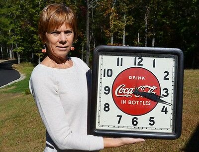 VINTAGE COCA COLA SODA CLOCK w/ WOOD FRAME SUPER SCARCE BEAUTIFUL WORKS!