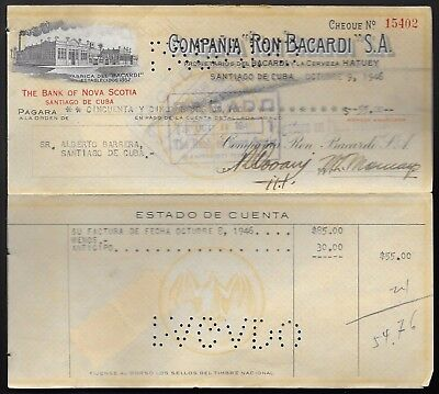 Cuba old invoice and check of the rum company Bacardi, 1946