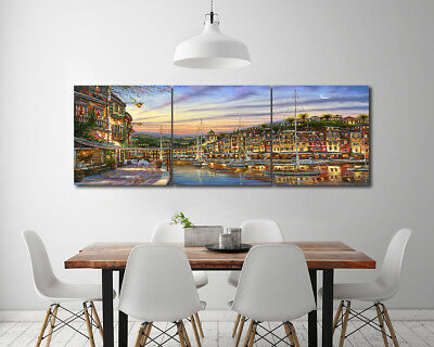 Print Painting Canvas Abstract Lakeside House Boat Scenic Art Wall Decor Frame