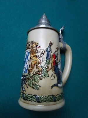 Bayern (Bavarian) Coat of Arms With Flags Authentic German Beer Stein,  0.5 L,