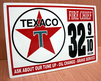 Texaco Gas Fire Chief Metal Vintage Style Gasoline Price Sign